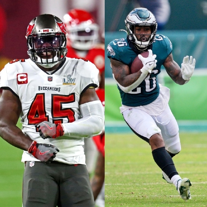 Devin White (L) is the leader of the Tampa Bay defense and Miles Sanders (R) is the number one running back for the Eagles