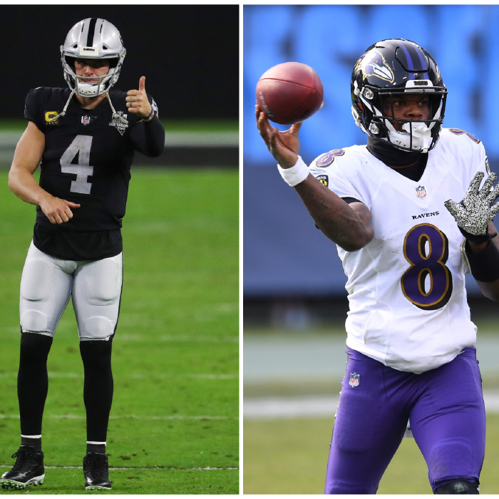The match-up sees two of the NFL's top quarterbacks in Derek Carr (L) and Lamar Jackson (R)