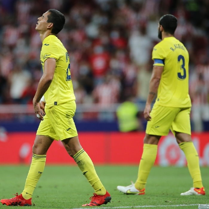 Villarreal defenders look dejected after their 2-2 draw with Atletico Madrid