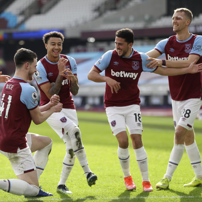West Ham celebrate a memorable victory over Spurs